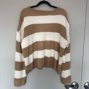 Size small tan and white striped sweater